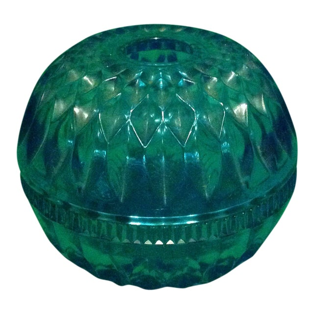 Blue Glass Spherical Candle Holder For Sale