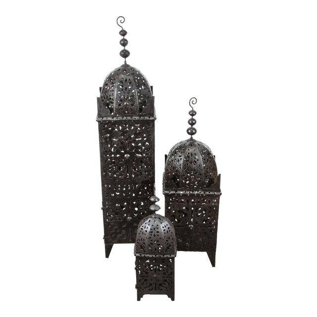 Large Moroccan Hurricane Metal Candle Lanterns - Set of 3