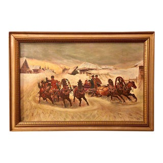 Oil On Canvas Of A Russian Racing Scene in the Snow By Ivan Tschernikow For Sale