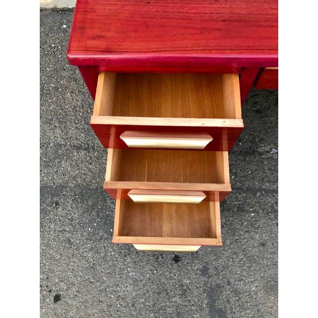 Auburn 1950s Refinished 'Painted Lady' Pontoon Base Executive Desk For Sale - Image 8 of 13