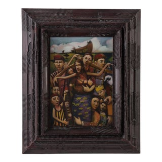"""James Feehan """"Compassione"""" Oil & Wax Wayne Cunningham Framed Painting For Sale"""