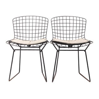 Knoll Bertoia Child Size Chairs Black/Ivory - Pair For Sale