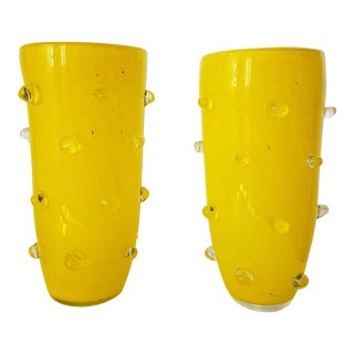 Yellow Murano Glass Vases, 1980s, Attributed to Cenedese - a pair For Sale