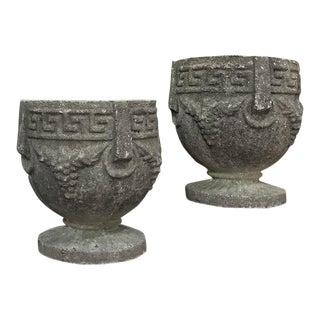 Antique Cast Stone Garden Urns-A Pair For Sale