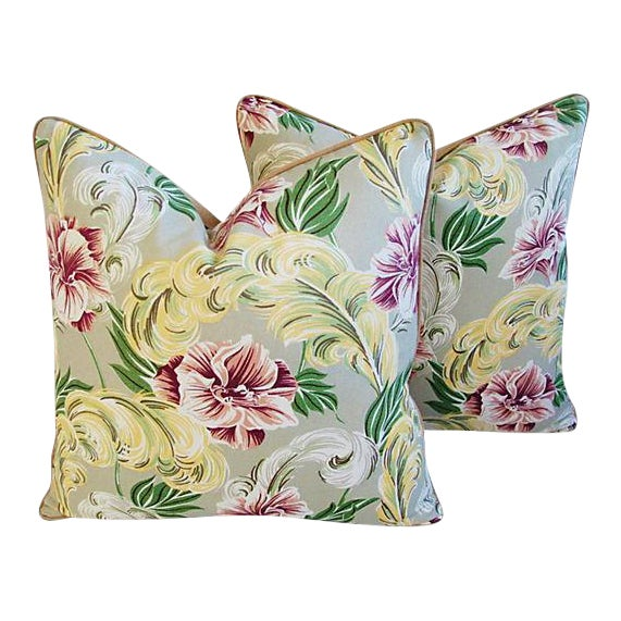 """23"""" Custom Tailored Tropical Floral Barkcloth Feather/Down Pillows - Pair - Image 1 of 7"""