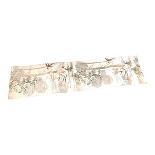 1920s Asian Silk Embroidered Gold Bamboo Table Runner For Sale