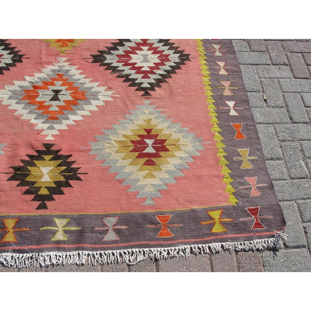 Vintage Turkish Kilim Rug - 6′5″ × 8′9″ For Sale - Image 10 of 11