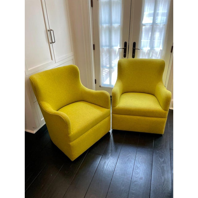 Textile Lee Industries Swivel Arm Chairs in Chartreuse - A Pair For Sale - Image 7 of 7