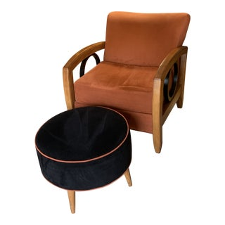 Thayer Coggin Chair and Ottoman For Sale