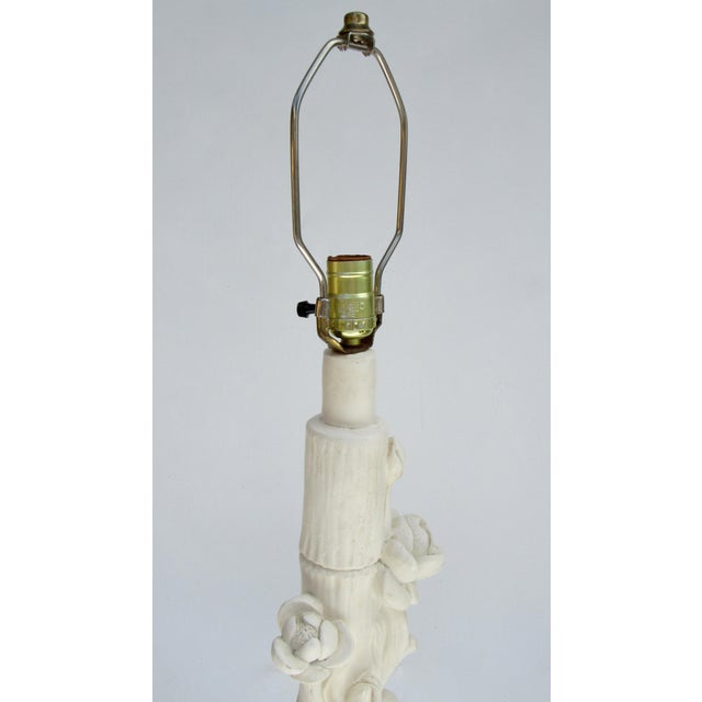 C1970s Vintage Asian-Style, Chinoiserie Plaster Carved Tiered Water Lily-Pad Orchid Lamp For Sale - Image 11 of 13