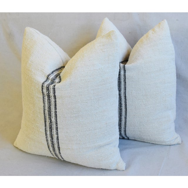 """White French Woven Black Striped Grain Sack Feather/Down Pillows 20"""" X 21"""" - Pair For Sale - Image 8 of 12"""
