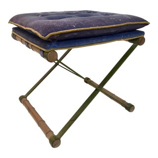 1970s Faux Bamboo & Steel Upholstered X Stool For Sale