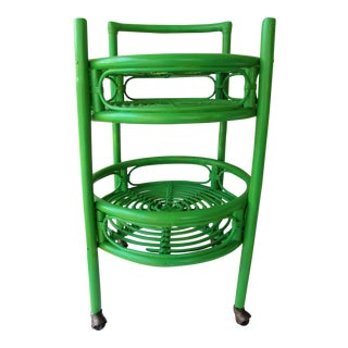 Green Painted Rattan Bar Cart For Sale