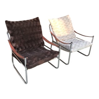 Mid-Century Modern Chrome and Leather Straps Safari Style Lounge Chairs - a Pair For Sale