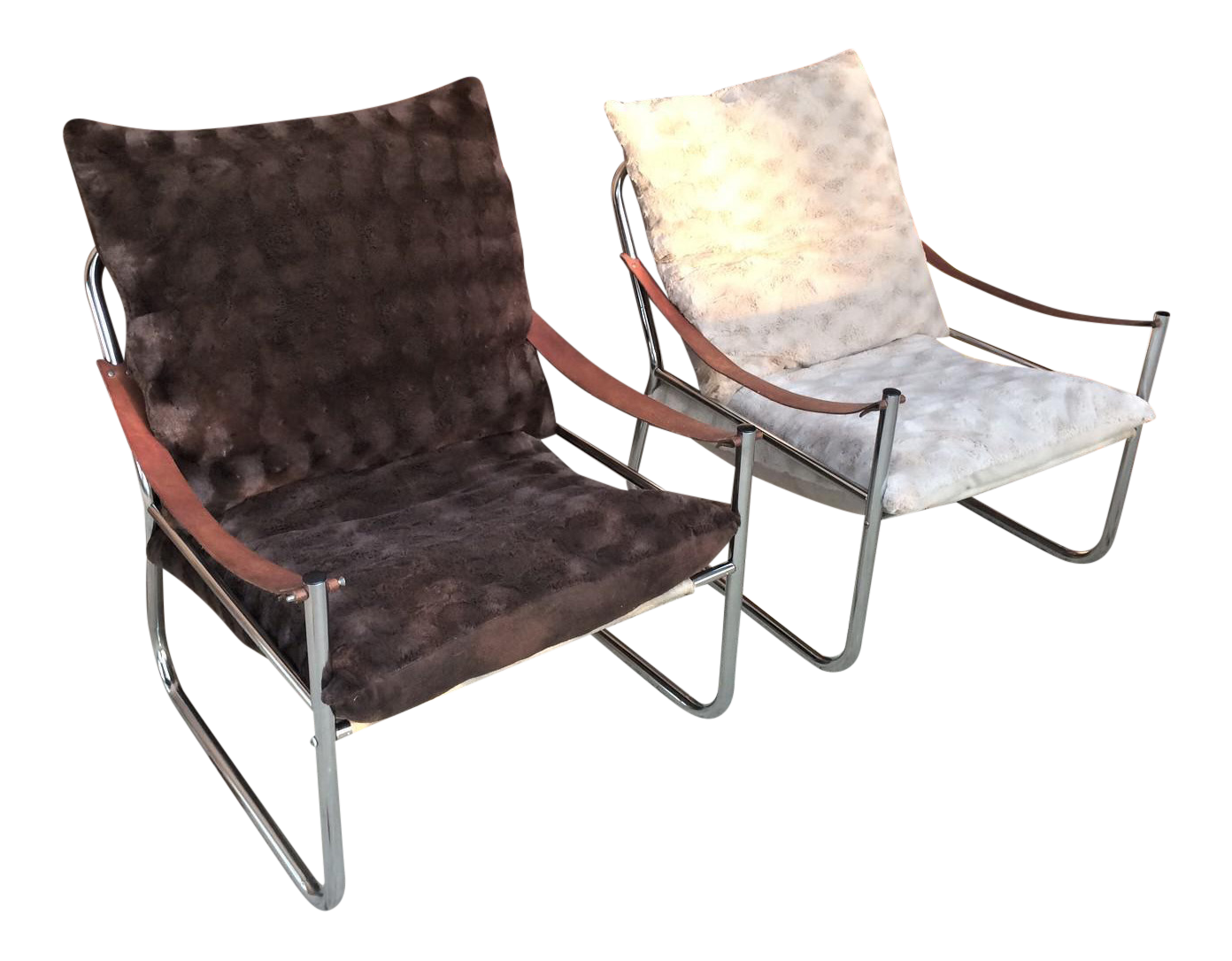 Ordinaire Mid Century Modern Chrome And Leather Straps Safari Style Lounge Chairs   A  Pair For