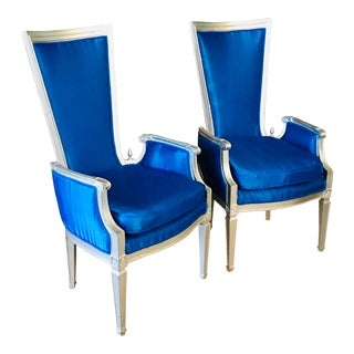 Hollywood Regency Louis XVI Style French Armchairs- a Pair For Sale