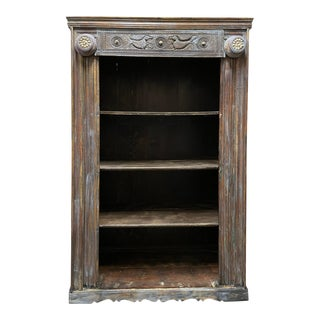 1920s Rustic Boho Farmhouse Blue Carved Wood Bookcase with Cowrie Shells For Sale