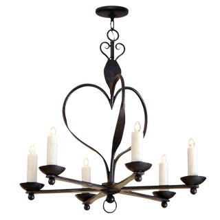 Italian 6 Arm Wrought Iron Chandelier by Randy Esada Designs For Sale