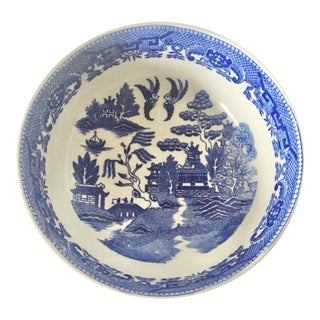 Vintage Chinoiserie Blue and White Serving Bowl For Sale