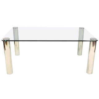 Pace Collection Glass & Chrome Dining Table For Sale