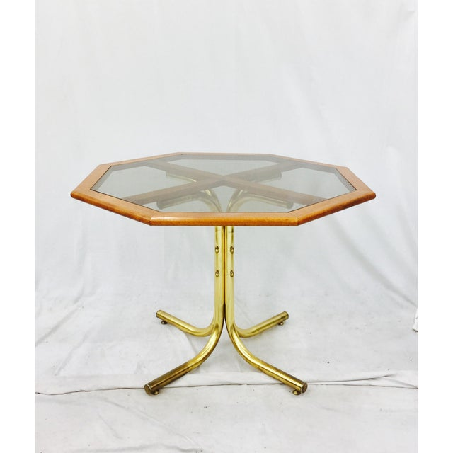 Chrome Craft Vintage Mid-Century Modern Chrome Craft Brass & Wood Table For Sale - Image 4 of 10