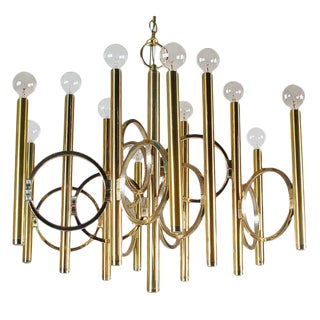 Sciolari Mid-Century Modern Italian Hollywood Regency Brass Chandelier