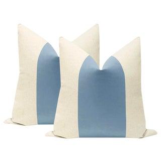 """22"""" Cornflower Blue Velvet Panel & Linen Pillows - a Pair For Sale"""