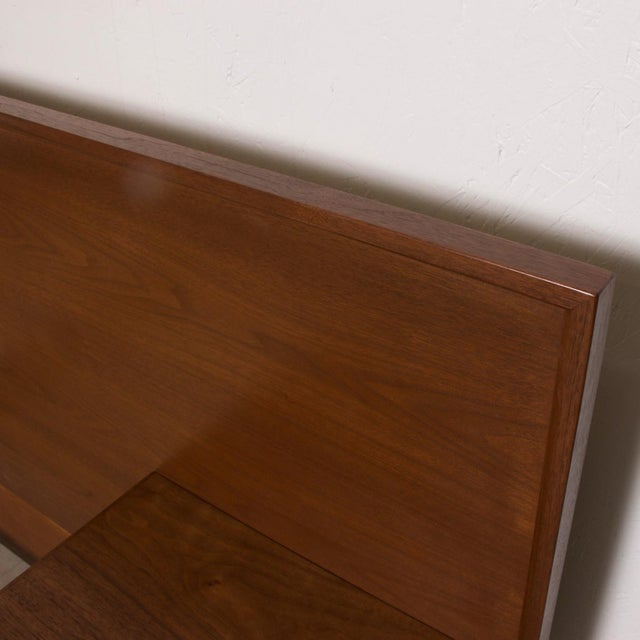 Modern Walnut King Size Platform Bed With Floating Nightstands For Sale - Image 10 of 11