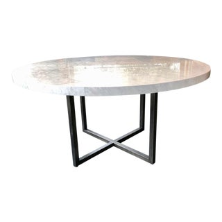 Modern Restoration Hardware Marble Dining Table For Sale
