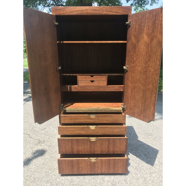 Late 20th Century Walnut and Gold Gilted Armoire by Baker Furniture For Sale - Image 5 of 10