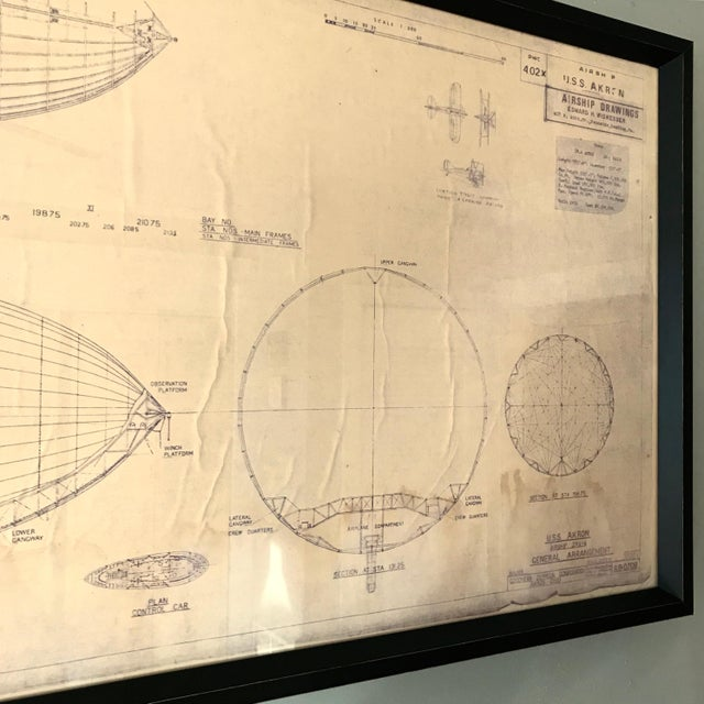 Vintage us navy airship blueprint chairish printmaking materials vintage us navy airship blueprint for sale image 7 of 11 malvernweather