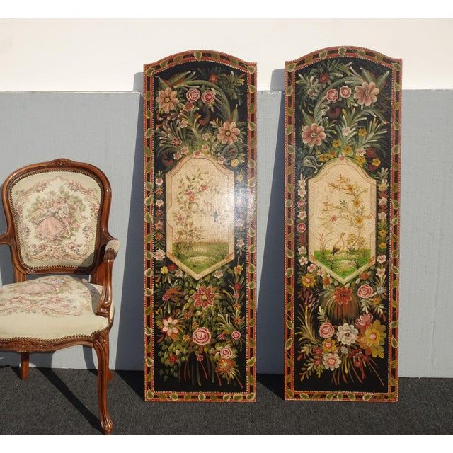 Vintage French Country Maitland Smith Style Wall Panels Floral Pictures For Sale - Image 9 of 12