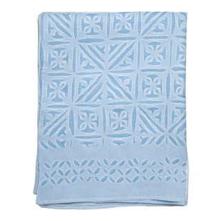 Azure Applique Bedspread, Twin - Sky Blue For Sale
