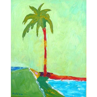 """California Beach Palm"" Contemporary Abstract Landscape Oil Painting by Martha Holden For Sale"