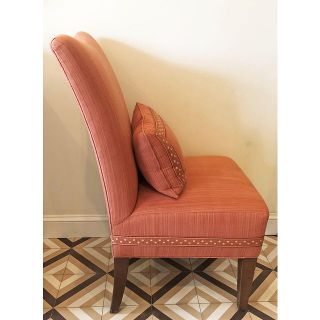 Traditional Modern Striae Cotton Side Chair For Sale - Image 3 of 10