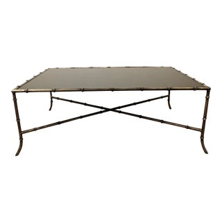 Maison Bagues Style Faux Bamboo Iron Glass Top Coffee Table