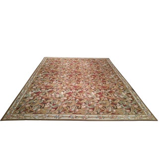Needlepoint English Style Handmade Rug - 11′5″ X 14′9″ - Size Cat. 10x14 12x15 For Sale