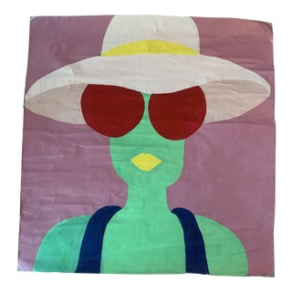 """Contemporary Original Large Portrait """"Green Lady, Hat & Shades"""" Fashion Pop Art Painting For Sale"""