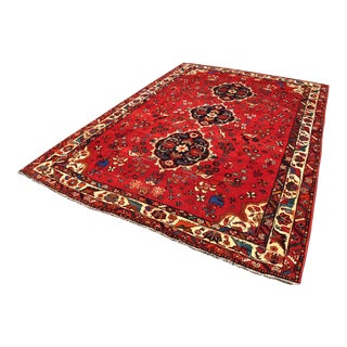 """Persian Qashqai With Blue Animals Rug-7'1'x10'6"""" For Sale"""
