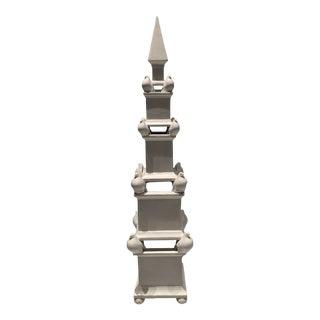 Large Vintage Ceramic Obelisk With Doves For Sale