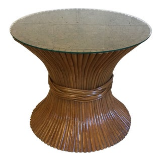 Bamboo Rattan Sheaf of Wheat McGuire Side Table For Sale