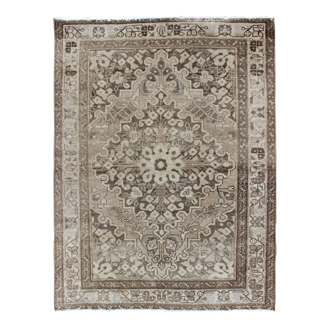 Neutral Tone Vintage Persian Lilihan Rug With Medallion For Sale