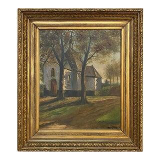 Antique Framed Oil Painting of Village of Vlassenbroek For Sale
