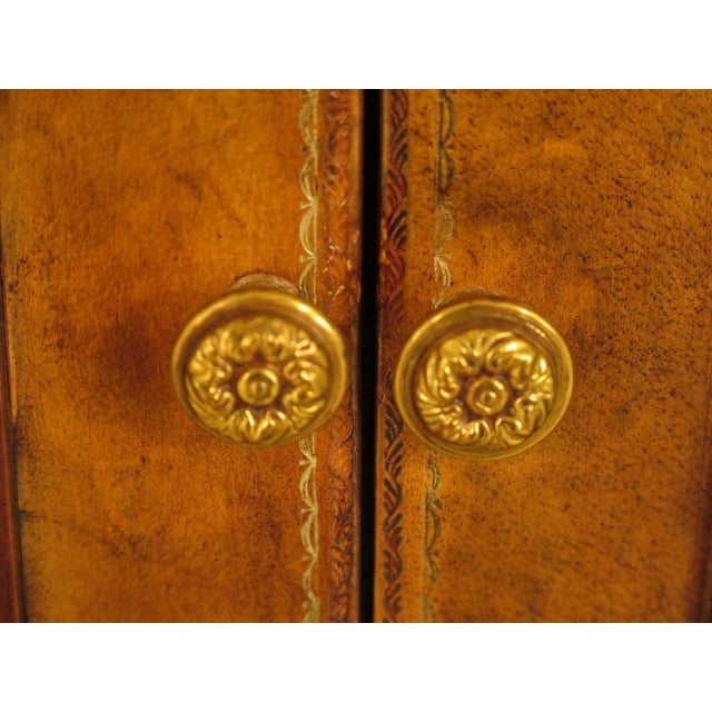 Brown Maitland Smith Leather Wrapped House Form China Cabinet For Sale - Image 8 of 13