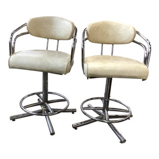 Vintage 1970-1980s Chrome Bar Stools For Sale