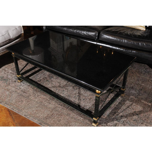 Metal French Parisian Coffee Table with Black Marble Top, Iron Base and Brass Accents For Sale - Image 7 of 12