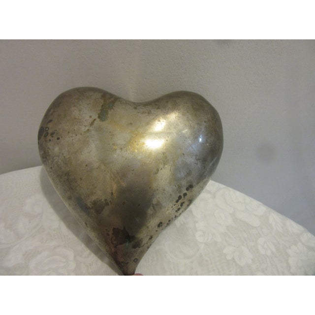 1970s Mid Century Modern Brass Molded Heart For Sale - Image 4 of 5