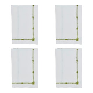Olive Flower Hemstitch Dinner Napkins - Set of 4 For Sale
