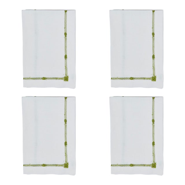Olive Flower Hemstitch Dinner Napkins - Set of 4 For Sale