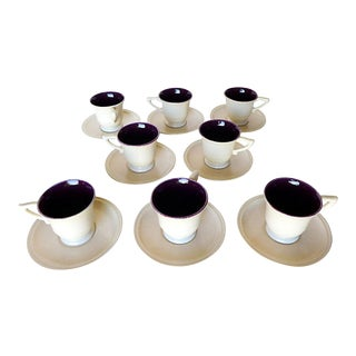 "Midcentury Rare Franciscan Montecito "" Gladding McBean Pottery Demitasse Set of 8 Eggplant & Ivory For Sale"
